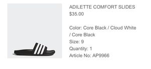 Adidas adilette comfort slides- women's size 9 for Sale in Clearwater, FL
