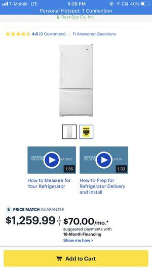 Amana - 22.1 Cu. Ft. Bottom-Freezer Refrigerator - White for Sale in Jersey City, NJ