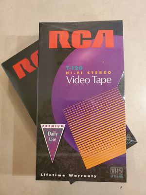 RCA T120 Blank VHS Tapes Hi-Fi Stereo Video Tape 6 Hours Lot of 2 Sealed for Sale in Marysville, WA