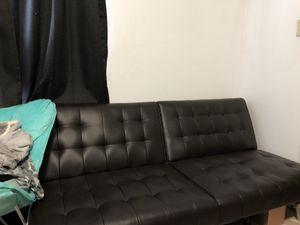 Black leather futon for Sale in McCordsville, IN