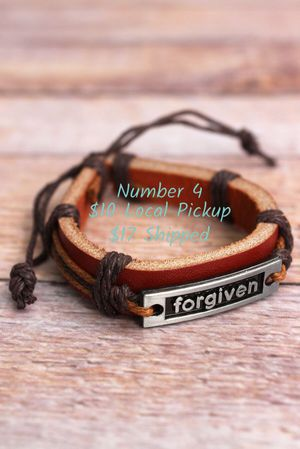 New in Package Faux Leather Adjustable Bracelet Forgiven Inspirational Christian for Sale in Troy, VA
