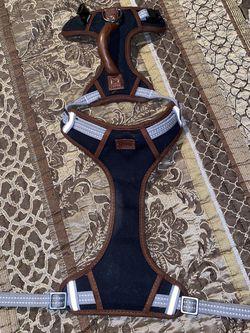 REDDY Dog Harness ,Medium Adjustable Collar Harness Black Brown leather/Handle VGC for Sale in Lakeland,  FL