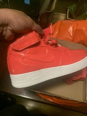 New patten leather af1 mids size 11 siren red and white $80 obo mids for Sale in Inglewood, CA