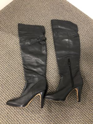 Black leather high heel boots size 7 $75 for Sale in Miami, FL