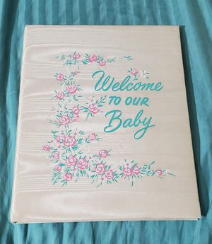 """VINTAGE """"Welcome to Our Baby""""--padded baby record book--1955, 1972 Edition for Sale in Houston, TX"""