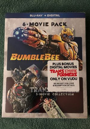 6-MOVIE PACK (TRANSFORMERS 5-MOVIE COLLECTION + BUMBLEBEE) BLU-RAY SEALED for Sale in IND HEAD PARK, IL