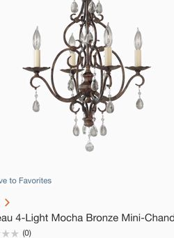 Feiss Chateau 4-light Mocha Bronze Mini Chandelier MSRP $402.00 for $100 firm complete Brand New Never Used Suitable for wet locations but NOT waterpr for Sale in Fort Lauderdale,  FL