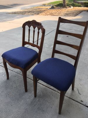 Two wood chairs with padded seats for Sale in Elk Grove, CA