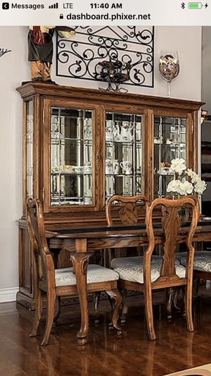 Gorgeous Solid Oak Dining Room Set, Table w 8 Chairs, China Cabinet, Curio for Sale in San Diego, CA