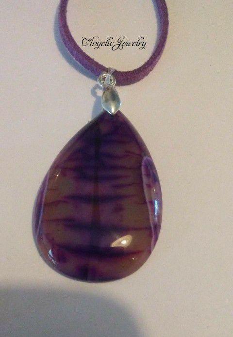 Purple Dragon's Vein Agate Necklace
