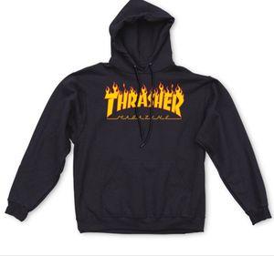 Brand New Flame Fire Logo Thrasher Hoodie Jacket Sweatshirt Black Orange Size Medium Men DS for Sale in Mountain View, CA