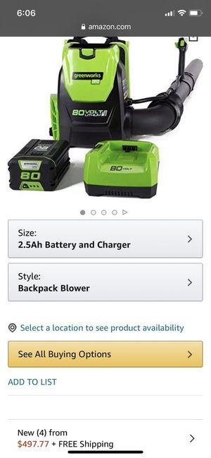 green works Pro 80 volt backpack blower for Sale in Pomona, CA