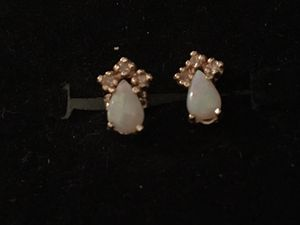 14kt gold opal and diamond earrings for Sale in Glen Burnie, MD