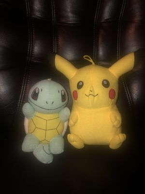 Lot of 2 Pokemon Plush Squirtle & Pikachu stuffed animals dolls go toy factory for Sale in Hayward, CA