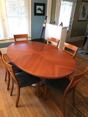 Scan Design solid wood Dining Room Table with 6 chairs and modern metal base for Sale in Orlando, FL