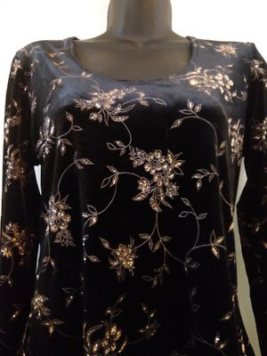 Size s small velvet Black gold floral blouse shirt stretching for Sale in Takoma Park, MD