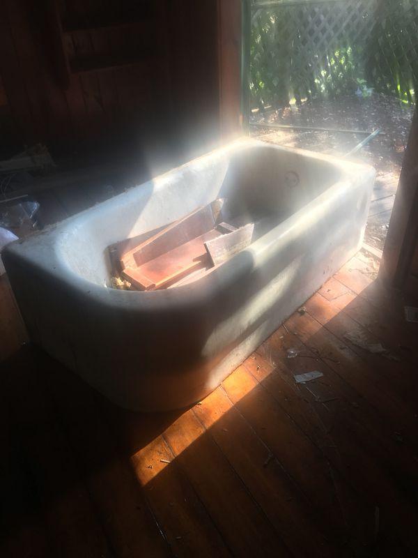 Cast iron tub skirted