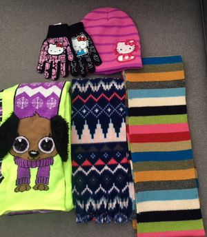 Girls scarves, hats, gloves. From Justice, hello kitty & old navy. for Sale in Arlington, VA