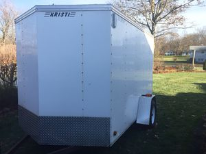 Closed trailer 6 x 10 white 1 ramp door and 1 side door ,perfect condition color white aluminum 3/4inch plywood inside , dome light , extra lights a for Sale in North Haven, CT