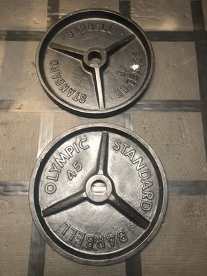 Pair of 45lb standard Olympic weight plates for Sale in Bay Lake, FL