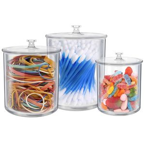 Set of 3 Small Apothecary Jars Bathroom – Multipurpose Acrylic Qtips Holder – Storage Organizer Canisters – Plastic Clear for Sale in Chicago, IL