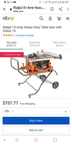 Ridgid 15 amp table saw 10 inch stand for Sale in Independence, MO