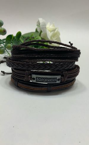 Braided Multi-layer Leather Bracelet (Set of 4), Forgiven for Sale in Irvine, CA