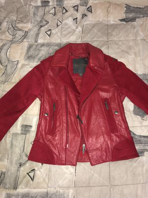 Zac Pose XS Red Leather and Suede Motorcycle Jacket for Sale in Miami, FL