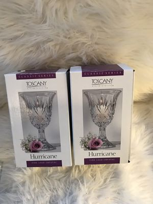 Toscana Hurricane Fine Lead Crystal Candle Holders or Vases set of 2 for Sale in Mentor, OH