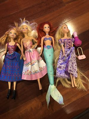 4 Princess Dolls -Barbie . Disney Princess Anna, Ariel and Rapunzel for Sale in San Jose, CA