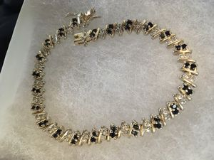 Gold over 925 sapphire and diamond bracelet for Sale in Severn, MD