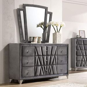 GLAM ART DECO OLD HOLLYWOOD GRAY FABRIC DRESSER CABINET / TOCADOR for Sale in Ontario, CA