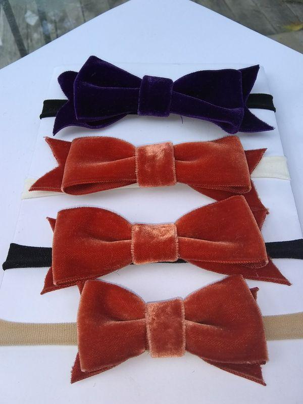 Velvet bow baby head bands (girls)