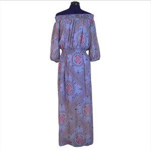 Enfocus Studio Womens Purple Blue Pattern Off Shoulder Maxi Dress for Sale in Las Vegas, NV