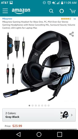 Mbuynow Gaming Headset for Xbox One, PC, PS4 Over-Ear Stereo Gaming Headphones with Noise Cancelling Mic for Sale in Lexington, KY