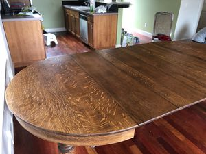 Beautiful antique oak dining table with expandable leaves for Sale in Seattle, WA