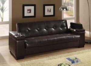 Cherrywood Leather Futon for Sale in Birmingham, AL