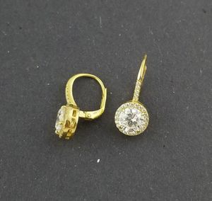 Women 925 Sterling Silver Gold Finish Clear Simulated Diamond Stones Dangle Drop Leverback Earrings for Sale in The Bronx, NY