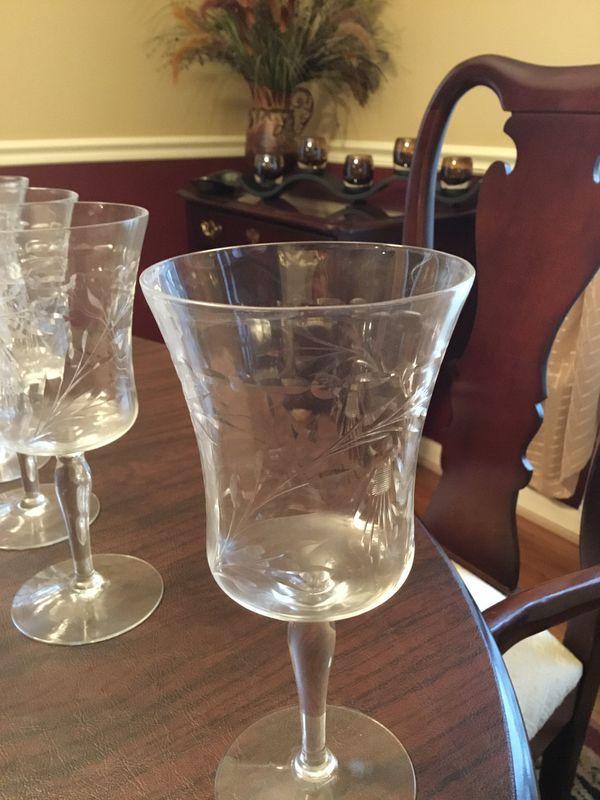 Etched Vintage Wine Glasses