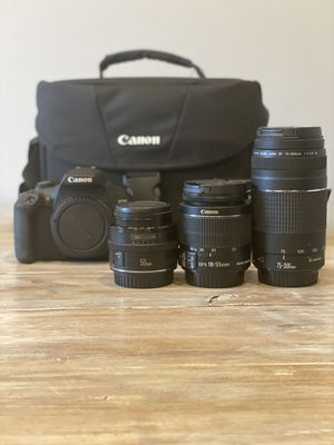 Canon Rebel T6 with 3 lenses, bag, battery, and charger for Sale in Virginia Gardens, FL