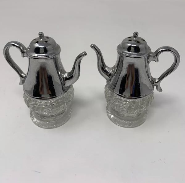 Teapot Pitcher Salt Pepper Shaker Set Metal With Glass Bottom
