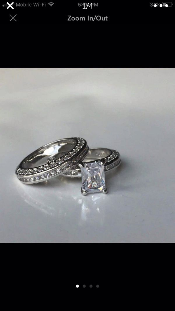 Sterling silver sapphire ring wedding engagement ring bridal proposal casual set women's jewelry accessory band