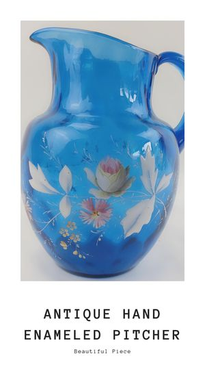 Antique Blue Glass Water Pitcher Hand Enameled Floural Embelishment for Sale in Orange, CA