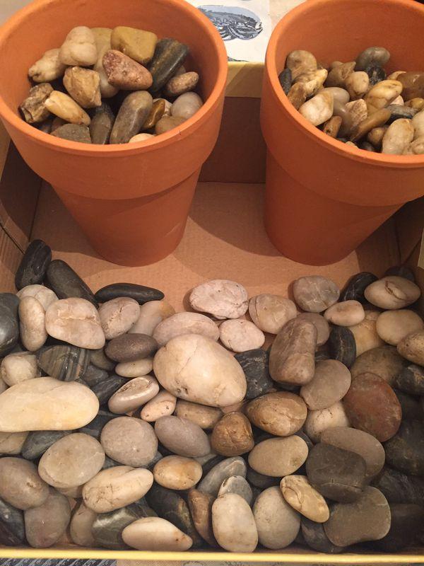 River Rocks and Terra Cotta Flower Pots
