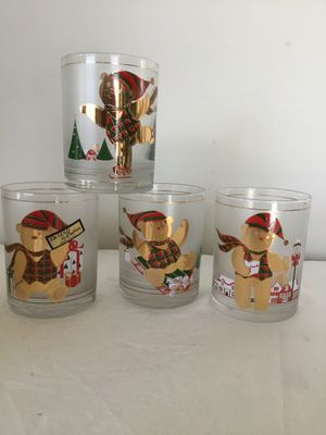4 Vintage Culver Christmas Yule Bears 14oz Double Old Fashion Glasses MIB 22K for Sale in Berlin, MD