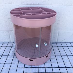 New Pink Makeup Organizer Box Desktop Storage Container Plastic Bin With Doors Lipsticks Holder For Household for Sale in South El Monte, CA
