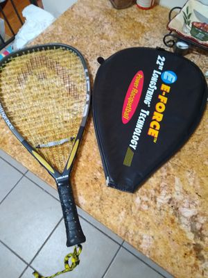 "Tennis Racket w 5"" leather Grips with Cover Like New for Sale in Germantown, MD"