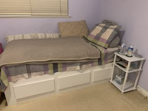 Great Condition White Twin Sized Bed with Mattress and Nightstand! for Sale in Placentia, CA