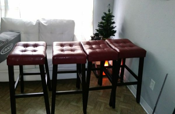 Barstools, Red, 4