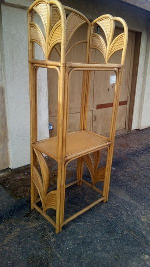 Rattan with 2 glass shelves for Sale in Apple Valley, CA